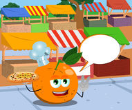Chef orange with pizza gesturing the peace sign on the market with speech bubble Stock Images