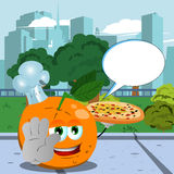 Chef orange with pizza holding a stop sign in the city park with speech bubble Royalty Free Stock Image