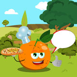 Chef orange with pizza showing thumb up on a meadow with speech bubble Stock Photo