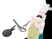 Chef with pan and spoon. On abstract background Royalty Free Stock Images