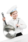 Chef with pan and trowel isolated Stock Photography