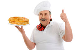 Chef with pancakes Royalty Free Stock Image