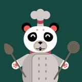 Chef Panda in flat cartoon style Stock Image