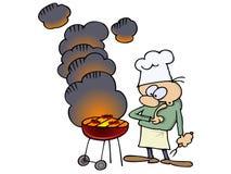 Chef par son gril Photo stock