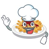 Chef pasta in the a character bowl. Vector llustration vector illustration
