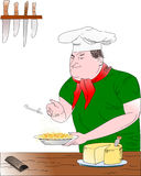 Chef with pasta dish. This image represents the cook intention to put grated cheese on a plate of pasta, I think it's excellent for use in the field of Stock Image