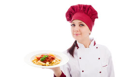 Chef with pasta plate in her hands Royalty Free Stock Photos