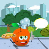 Chef peach holding pizza with attitude in the city park with speech bubble Stock Photos