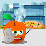 Chef peach with pizza holding a stop sign in the city Royalty Free Stock Photography