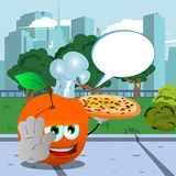 Chef peach with pizza holding a stop sign in the city park with speech bubble Royalty Free Stock Image