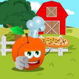 Chef peach with pizza pointing at viewer on a farm Stock Images