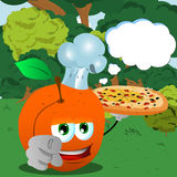 Chef peach with pizza pointing at viewer in the forest with speech bubble Royalty Free Stock Photo