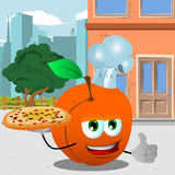 Chef peach with pizza showing thumb up in the city Stock Photos