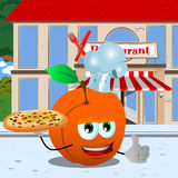 Chef peach with pizza showing thumb up in front of a restaurant Royalty Free Stock Image