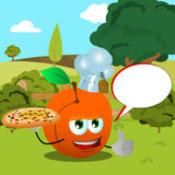 Chef peach with pizza showing thumb up on a meadow with speech bubble Royalty Free Stock Images