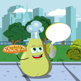 Chef pear holding pizza with attitude in the city park with speech bubble Stock Photography