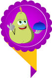 Chef pear with ok sign, label Royalty Free Stock Images