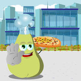 Chef pear with pizza holding a stop sign in the city Stock Photos