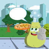 Chef pear with pizza holding a stop sign in the city park with speech bubble Stock Images
