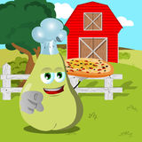Chef pear with pizza pointing at viewer on a farm Stock Image