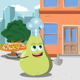 Chef pear with pizza showing thumb up in the city Royalty Free Stock Image