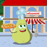 Chef pear with pizza showing thumb up in front of a restaurant Stock Images