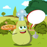Chef pear with pizza showing thumb up on a meadow with speech bubble Royalty Free Stock Image