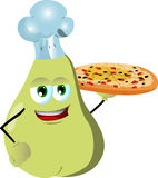 Chef pear showing a delicious pizza Royalty Free Stock Image