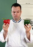 Chef and peppers Royalty Free Stock Photo