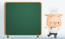 Chef Pig with blank blackboard Stock Photos