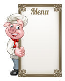 Pig Chef Cartoon Character Chef Menu Stock Image