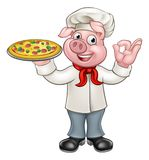 Chef Pig Character de pizza de bande dessinée Photo stock