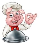 Chef Pig Character Mascot de bande dessinée Photos stock