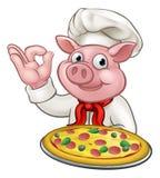 Chef Pig Character Mascot de pizza de bande dessinée Photographie stock libre de droits