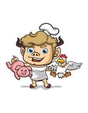 CHEF WITH PIG AND CHICKEN MASCOT DESIGN Royalty Free Stock Photo