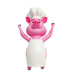 Chef pig is jumping. Pink chef pig is jumping with happy Royalty Free Stock Photography