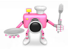 Chef Pink Camera Character right hand, Plate in the left hand ho Royalty Free Stock Photography