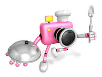 Chef Pink Camera Character right hand, Plate in the left hand ho Royalty Free Stock Image
