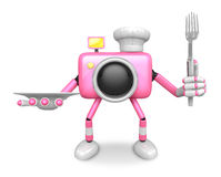 Chef Pink Camera Character right hand, Plate in the left hand ho Royalty Free Stock Images
