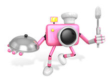 Chef Pink Camera Character right hand, Plate in the left hand ho Royalty Free Stock Photo