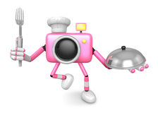 Chef Pink Camera Character right hand, Plate in the left hand ho Stock Image
