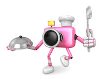 Chef Pink Camera Character right hand, Plate in the left hand ho Royalty Free Stock Photos
