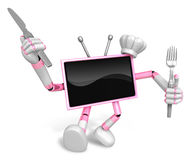 Chef Pink TV Character right hand, Fork in the left hand holding Royalty Free Stock Photos