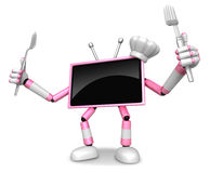 Chef Pink TV Character right hand, Fork in the left hand holding Royalty Free Stock Photography