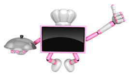 Chef pink TV Mascot the right hand best gesture and the right ha Royalty Free Stock Image