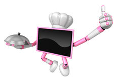 Chef pink TV Mascot the right hand best gesture and the right ha Stock Photo
