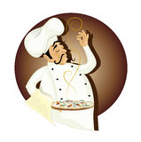 Chef with pizza. Vector illustration of chef with pizza royalty free illustration