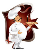 Chef with pizza. Design,you can place your text or logo on towel stock illustration