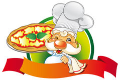 Chef pizza. Happy and proud chef show his homemade pizza Stock Image