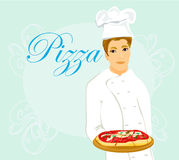 Chef with pizza Stock Image